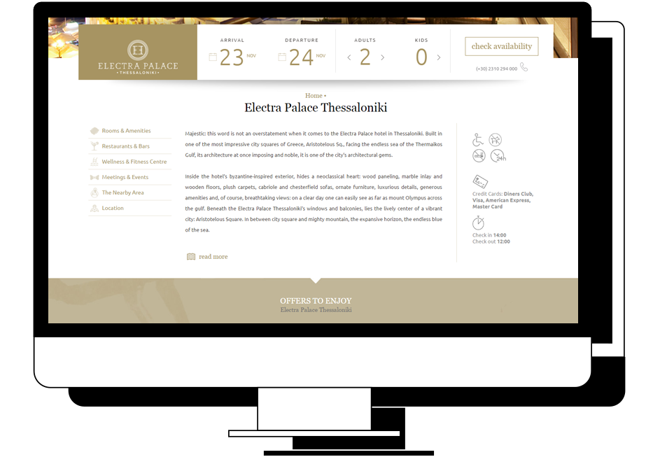 Electra Hotels Case Study User Interface